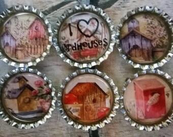 Six I Love Birdhouses Magnets on Silver Bottle Caps