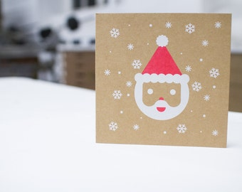 Snow Santa Screenprinted Card