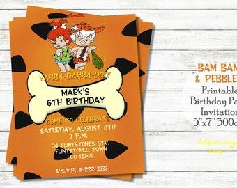 Bam bam and Pebbles invitation, Twins invitation, Flintstones birthday, Bam invitation, Pebbles invitation, Flinstones birthday party
