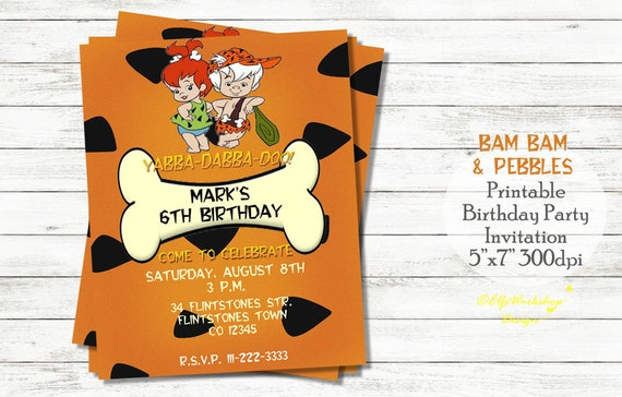 il_570xN.1001168892_ctsx flintstones birthday invitations themafeest info,Flintstones Birthday Invitations