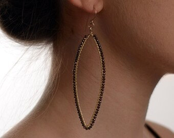 E0532 Gold Hematite on Gold Filled Skinny Marquis Earrings