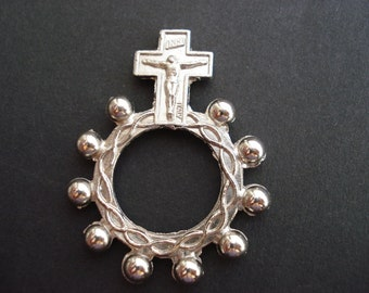 Religious antique French natural catholic finger rosary with cross crown of thorns crucifix 1 decade.  ( 1 )