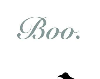 Boo. Crow Halloween Printable - 8x10 or 5x7