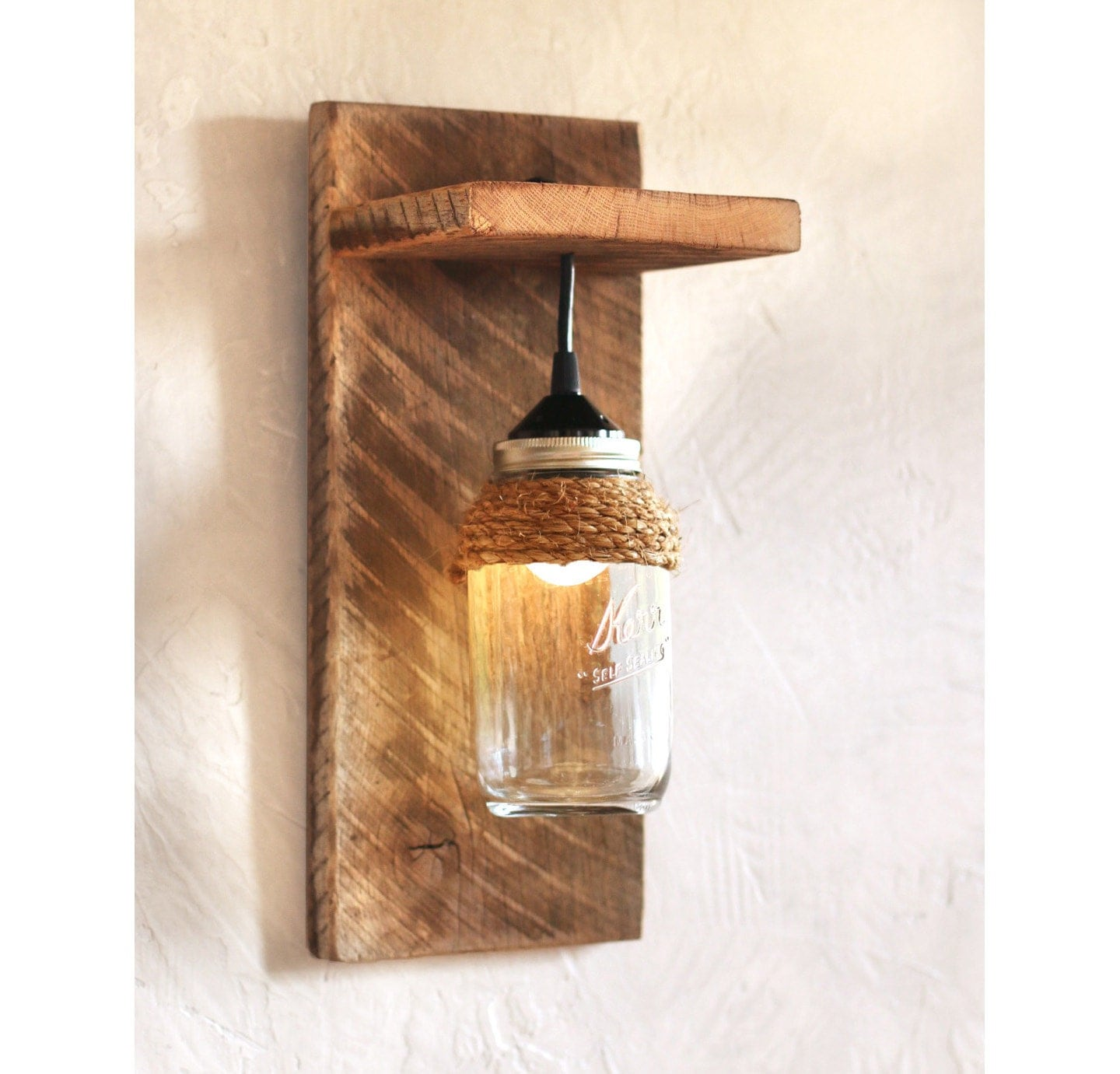Antique Wall Sconce Lighting Fixtures : Mason jar light fixture Reclaimed wood wall sconce