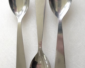 Gio Ponti Stainless Modernist Flatware for Fraser Krupp Italy Modernism - THREE Teaspoons