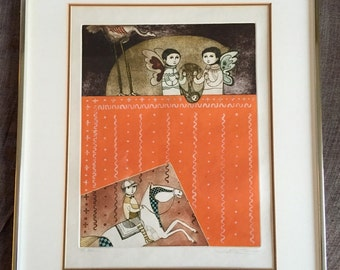 "Framed Leticia Tarrago' Limited Edition Etching & Aquatinto on Paper ""Bestiario""  1974 Signed / Numbered"