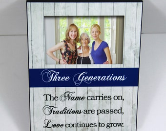 three generations custom photo frame mothers day gift from granddaughter grandmother gift family photo frame custom quote rustic wood look