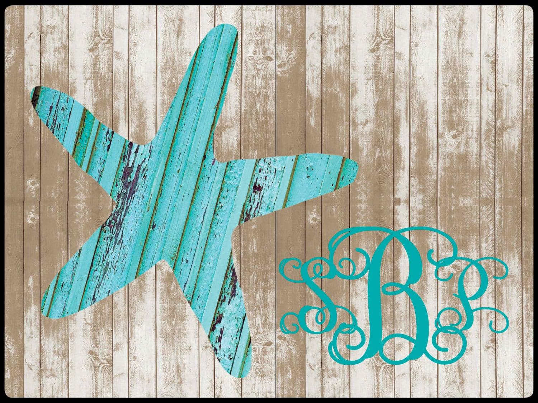 Monogrammed Beach House Wood Look Door Mat Custom Rustic Starfish ...