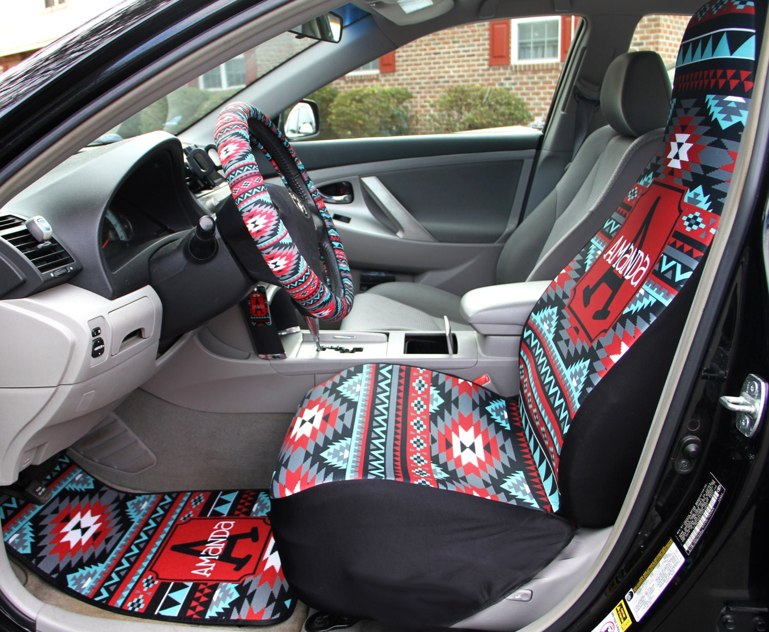 aztec car seat covers set of two front seat covers tribal. Black Bedroom Furniture Sets. Home Design Ideas