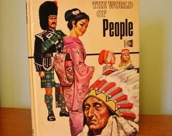The World of People 1972 scarce children's reference book illustrated hardback young adults geography sociology anthropology europe asia