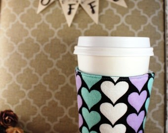 Fabric Coffee Cozy / Heart Columns Coffee Cozy / Heart Coffee Cozy / Coffee Cozy / Tea Cozy
