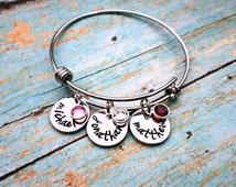 Custom Hand Stamped Mother's Bracelet, Grandmother's Bracelet, Birthstone Bracelet, Bangle Bracelet, Mother, Mothers Gift, Grandmother Gift