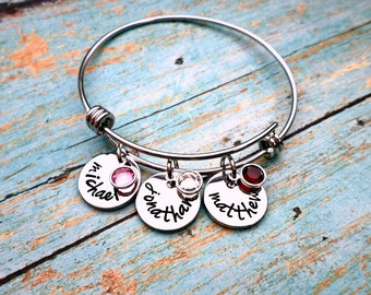 Hand Stamped Mother's Bracelet, Grandmother's Bracelet, Birthstone Bracelet, Bangle Bracelet, Mothers day, Mothers Gift, Grandmother Gift