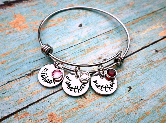 Hand Stamped Mother's Bracelet, Grandmother's Bracelet, Birthstone Bracelet, Bangle Bracelet, Mothers day, Mothers Gift, Grandmother Gift