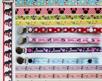 Mickey and Minnie Mouse - Paci-Catchers - Pacifier Clip - Mickey Mouse Baby - Pacifier Leash - Disney Pacifier Clip