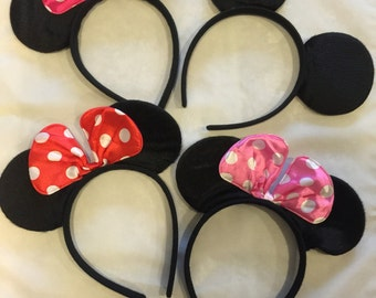 Mickey Mouse Ears - Minnie Mouse Ears - Red Polka Dot Bow, Pink Bow Hot Pink Bow, Minnie Ears, Mickey Ears, Party Favor - Disney Trip