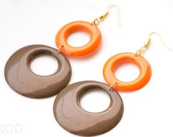 Mod earrings, Brown Orange Hoop earrings, Mod Hoop earrings, Vintage 60s earrings, Handmade