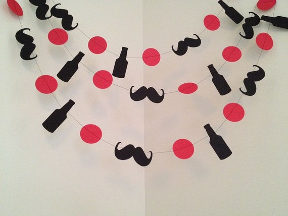 Dirty thirty birthday beer and mustache garland bachelor for Bachelor party decoration