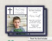 Blue Boy Communion Invitation - Blue Communion Invitation - Boy First Communion Invitation - Navy Communion Invite - Printable Invite