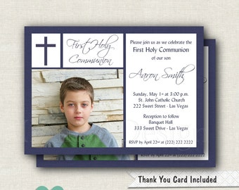 Blue Boy Communion Invitation - Blue Communion Invitation - Boy First Communion Invitation - Navy Communion Invite - Printable Invite