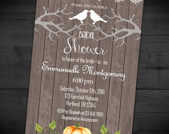 Love Birds Bridal Shower Invitation - Rustic Wedding Shower Invite - Branches - Couples - Printable or Printed - SHIPPING INCLUDED - 5x7