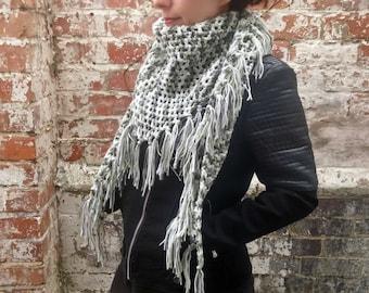 Fringe scarf ,  Spring scarf , Crochet triangle scarf with fringe . Women's scarf with tassels . Crochet shawl