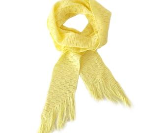 "Yellow Skinny CROCHET SCARF - Unique Cotton Crochet Scarf - Sunny Yellow Handmade Scarf (80"" x 3.25"")"