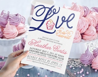 Love is Sweet Bridal Shower Invitation // DIY Printable 5x7 - Print Yourself DIGITAL FILE