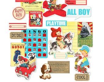 Printable retro scrapbook embellishments / vintage boys / cowboy, fireman, pilot, airplane, train / digital collage sheet / instant download
