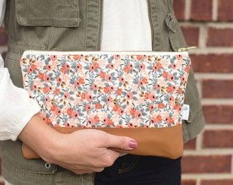 Blush Floral Clutch Bag, Pink Floral Zipper Clutch, Peach Leather Evening Bag, Rifle Paper Fabric, Cognac Leather Clutch, Les Fleurs Fabric