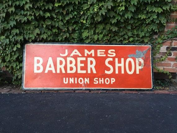 Antique Trade Sign, James Barber Shop Sign, Union Shop Sign, Hand Painted Folk Art Sign