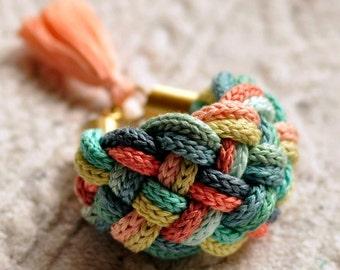 colorful bracelet, Pastel bracelet, rope bracelet, tassel bracelet
