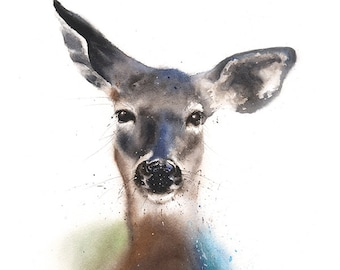 DEER ART PRINT - watercolor deer painting, deer print, deer wall art, deer decor, deer lover, doe painting, deer gift, deer artwork, doe art