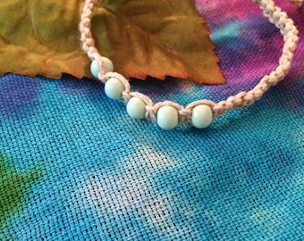 Hemp Bracelet with Mint Colored Glass Beads