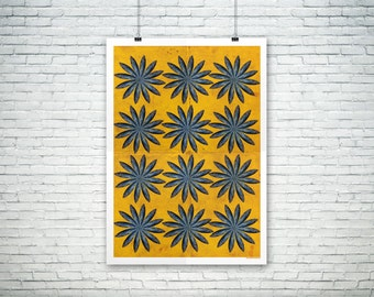 Fish Flower Poster, Kitchen Art, Pop Art, Foodie Art