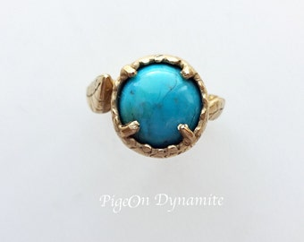 "Leaf & Turquoise ""Sora"" Ring/Ready to Ship Ring/Turquoise Solitaire Ring/Turquoise Statement Ring/Only One Available"