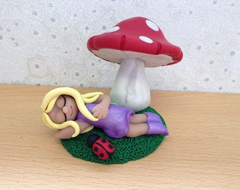 Polymer Clay Miniature Collectible, Fairy Sleeping Under A Toadstool, Fairy Sculpture - Ella