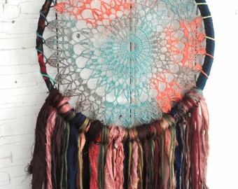 "DREAMCATCHER Bohemian Gypsy Recycled Silk Vintage 8.5"" Dream Catcher Decor Wall Hanging 303"