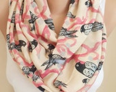 Bird Scarf, Beige Bird Scarf, Very Soft Lightweight Scarf
