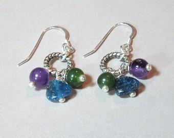 Jewel-Tone Gemstone Drop Earrings