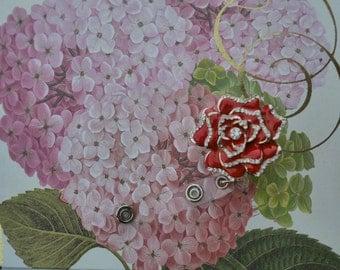 Oil Painted Rhinestones Rose,  Retractable ID Name Badge Holder.