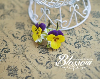Earrings with yellow pansies, polymer clay, flowers, bronze earrings, gift for girl