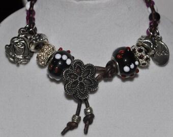 SALE! Wrap Bracelet Fuchsia White Black #529