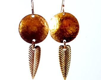 Shield and Feather Copper Earrings Tsalagi Cherokee Made