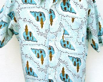 Vtg 70s Graphic Disco Shirt Mens Short Sleeve Bardon XL Abstract Deco Print City Scene Club
