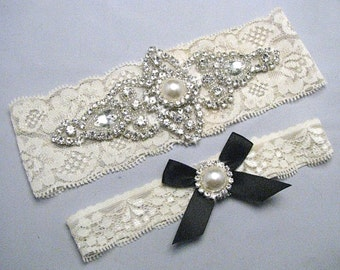 Black And White Ivory Bridal Garter Set Crystal Rhinestone Pearl Keepsake Toss Garters