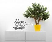 Cat decal / Skateboarding cat / home decor /  wall sticker