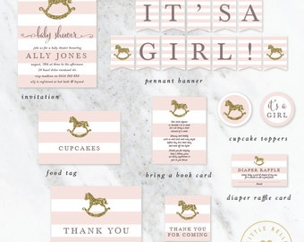 Girl Baby Shower Package / Rocking Horse Baby Shower Invite / Pink / Gold Glitter