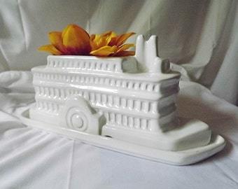 River Boat Planter Paddle Boat Steam Boat White Ceramic Boat Planter Mississippi Delta Queen Paddle Wheel Boat Side Wheel Boat Nautical