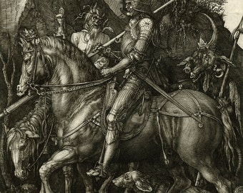 """Albrecht Durer Master Print : """"Knight, Death and the Devil"""" (1513) - Giclee Fine Art Reproduction"""